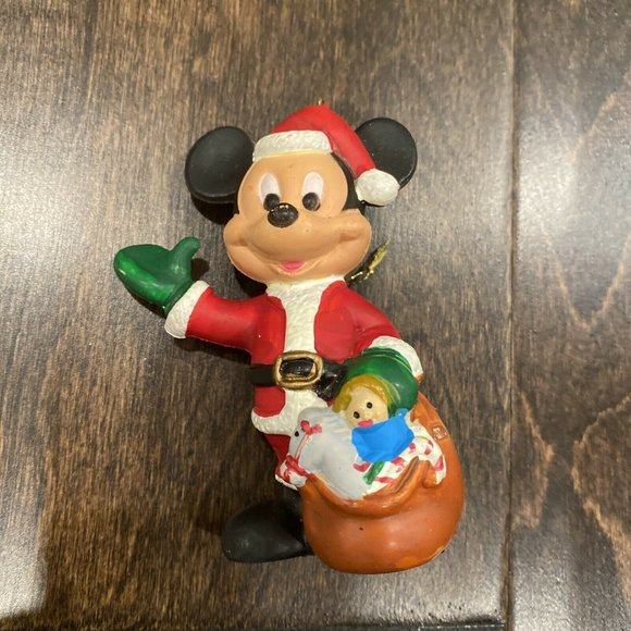 VTG Mickey Mouse in Santa Suit Christmas Ornament